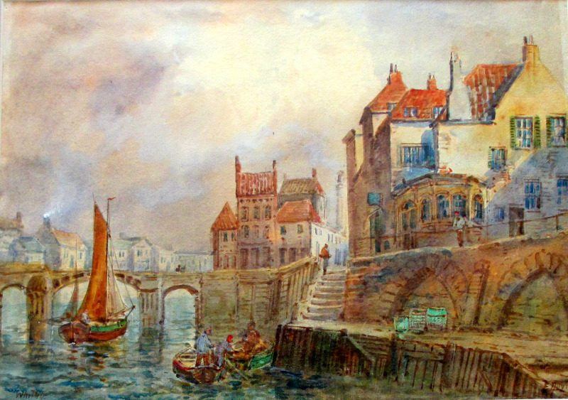 Whitby Harbour, watercolour and gouache on paper, signed E. Nevil, c1880.