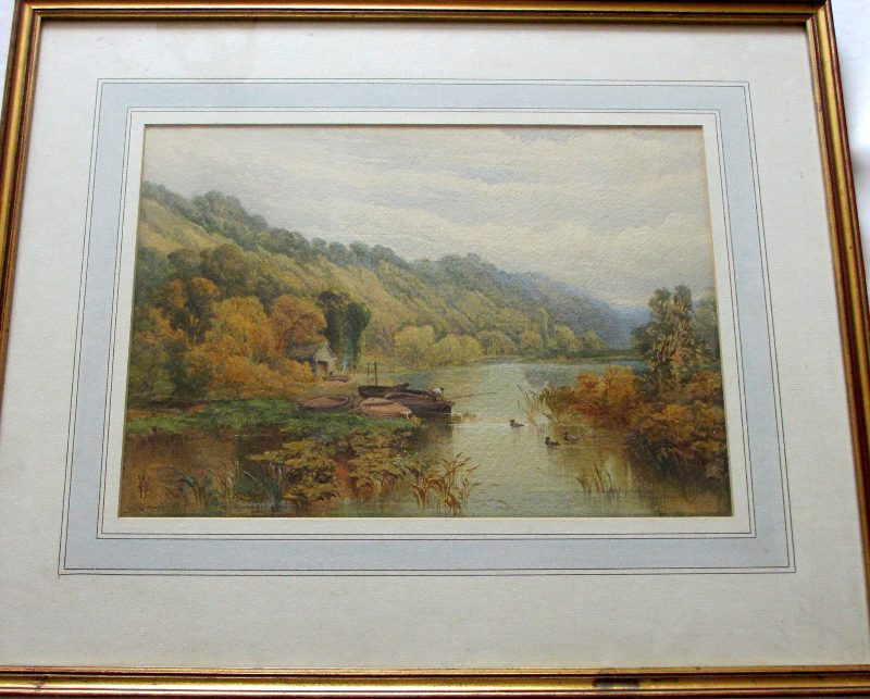 Fishermen in Wooded Landscape, watercolour on paper, signed WSS (Walter Sydney Stacey), c1880.