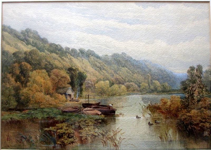 Fishermen in Wooded Landscape, signed WSS, c1880.