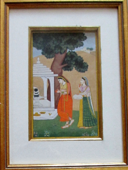 Shiv Puja, gouache on paper, 20th C Indian School. c1960.  SOLD  27.02.2014.