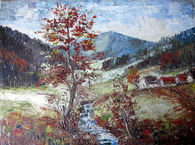 Der Schwarzwald, impasto oil on canvas, signed R. Seidel, 69.