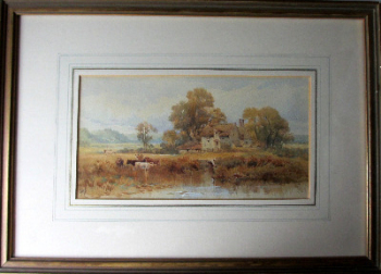 A pair of landscape pastoral scenes, watercolours on paper, signed monogram WSS, c1870.   SOLD  08.02.2014.