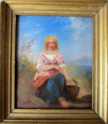 Portrait of a Peasant Girl, oil on board, 19th C Continental School. Unsign
