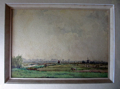 Suffolk Landscape, watercolour and gouache, signed K. Tipping 1921.