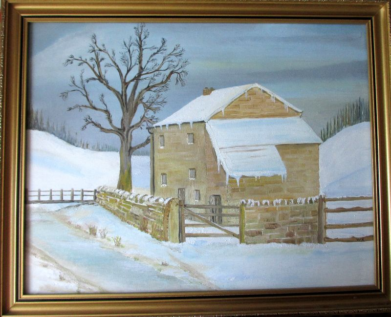 A Winter Landscape, oil on board, signed WK, c1980.