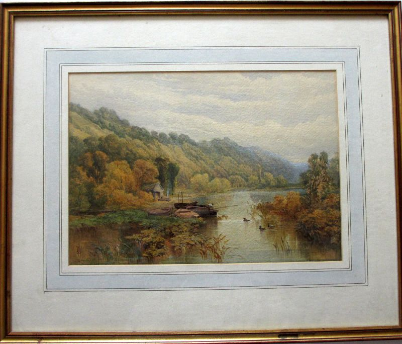 Fishermen in Wooded Landscape, watercolour on paper, signed monogram WSS, c1880.