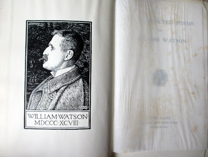 The Collected Poems by William Watson, 1898. Frontispiece.