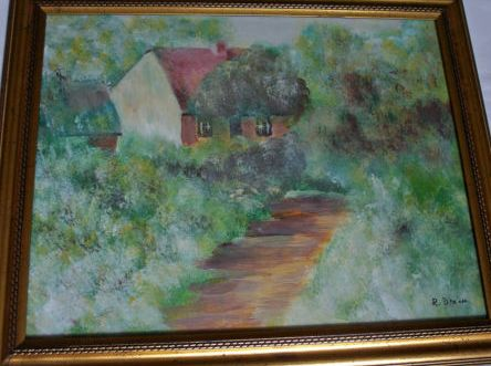 Copse House, oil on board, signed R. Dixon, c1980.