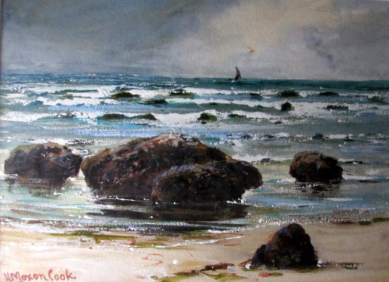 On the Shore at Whitby, gouache on paper, signed H. Moxon Cook, 1909.