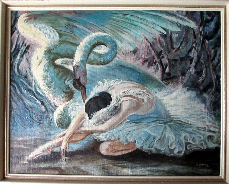 Swan Lake, oil on board, signed VM Potter, c1960.