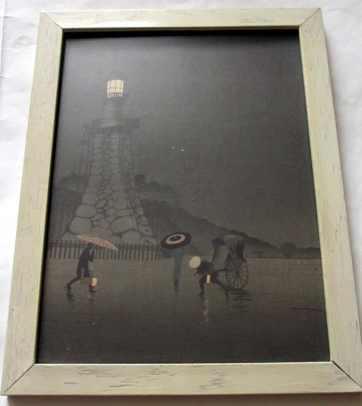 Japanese nocturnal print. Triptych 1, c1920.