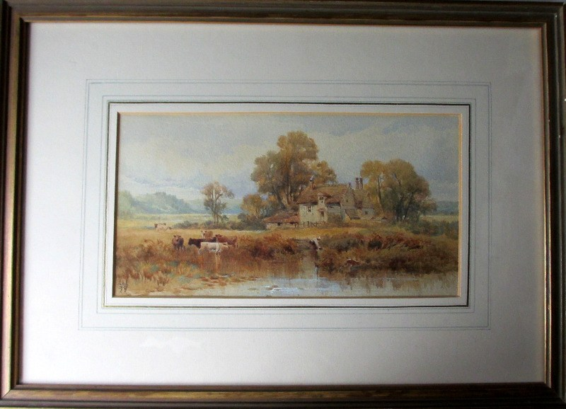 Cattle Watering on River Bank, watercolour, signed monogram WSS. c1870.