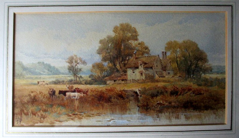 Cattle Watering on River Bank, signed WSS monogram.
