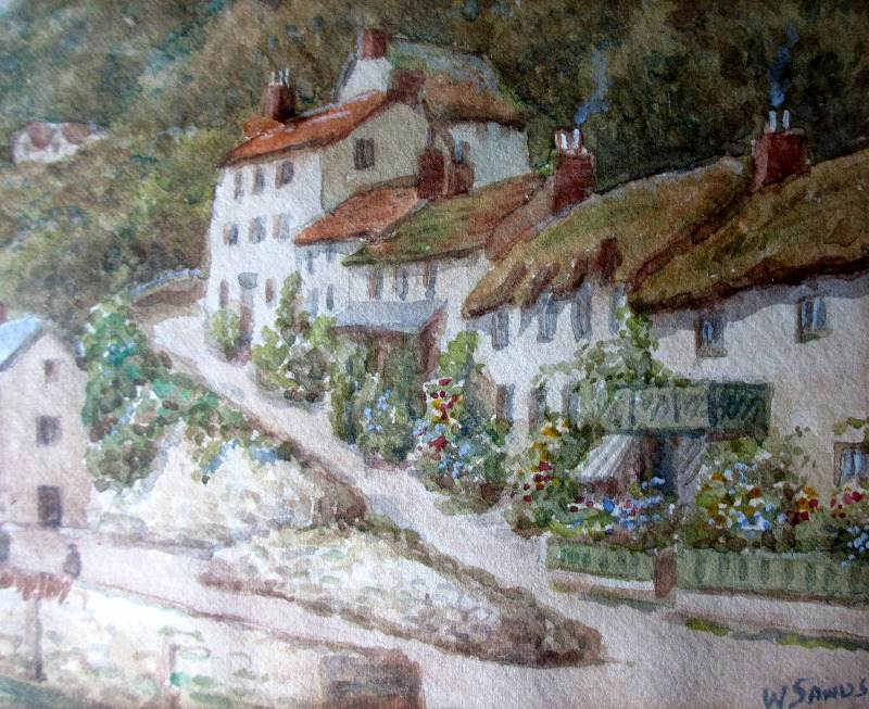 Lynmouth, watercolour, signed W. Sands. c1930.