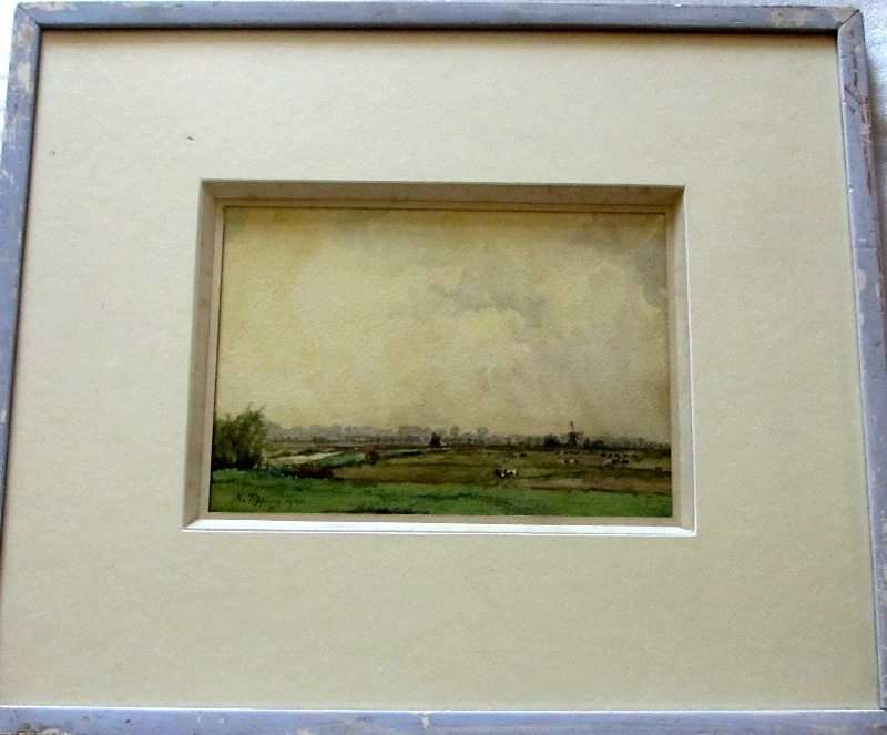 Suffolk Landscape, watercolour and gouache highlights, signed K. Tipping 1921.