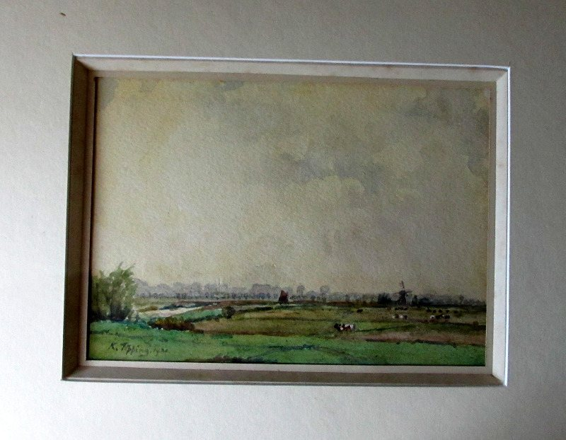 Suffolk Landscape, signed K.Tipping 1921.