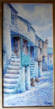 Cobbled Street Scene, St. Ives, watercolour on paper, signed W. Sands. c1930.