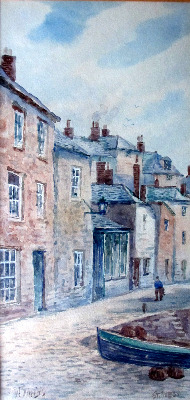 Harbourside, St. Ives, watercolour on paper, signed W. Sands. c1930.
