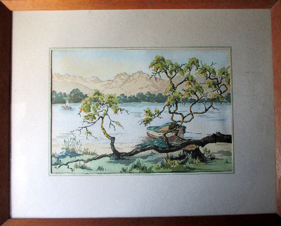Lakeside View, watercolour on paper, signed Clarice L. Kay. c1950.