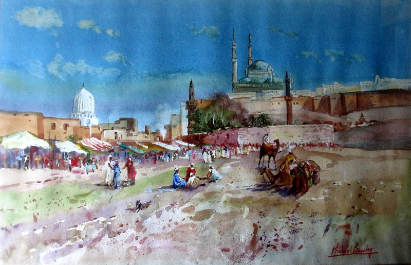 Outside Cairo, watercolour on paper, signed Michael Crawley. c1990.