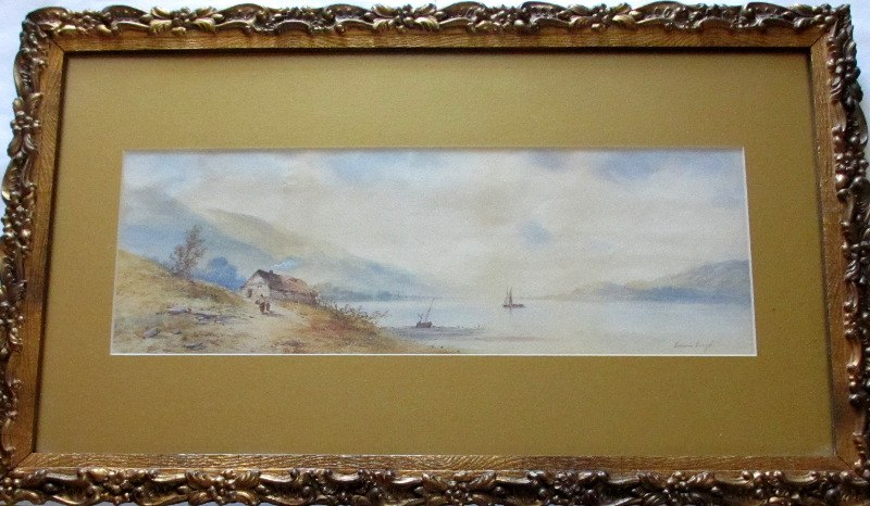 Continental Lakeside Landscape, watercolour on paper heightened with white, signed Edwin Earp. c1900.