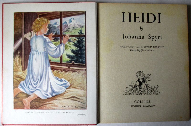 Heidi, frontispiece, full colour plate.