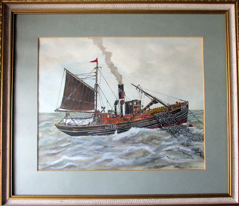 """Steam Drifter """"Kessingland"""" LT210, watercolour on paper, signed Perry Broad, 30-8-1982."""