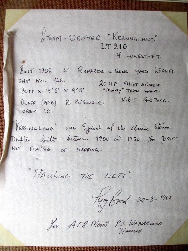 Kessingland, frame, verso, note detail.