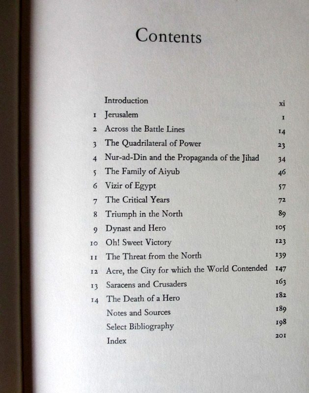 Saladin, Contents page.
