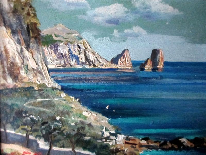 Coastal Scene of Capri, detail.