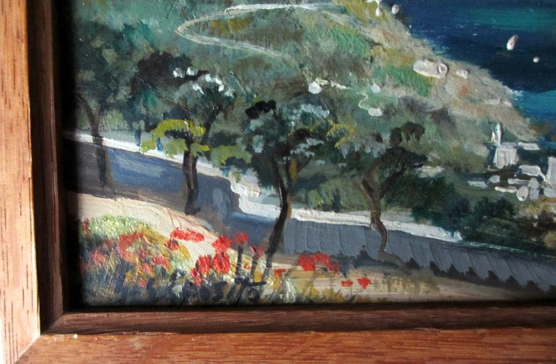 Coastal Scene of Capri. Detail, signature.