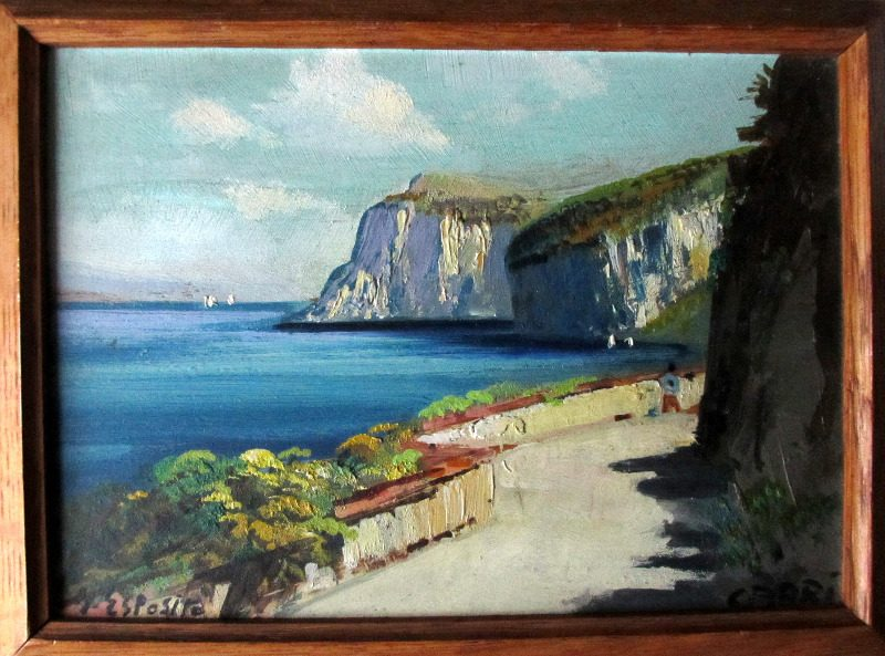 Coastal Scene of Capri (2), oil on panel, signed G. Esposito.
