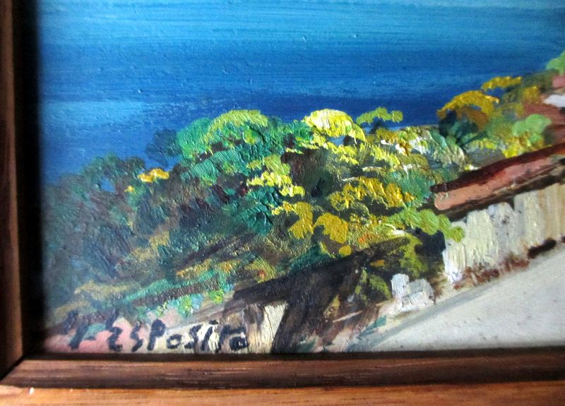 Coastal Scene of Capri (2), detail, signature.