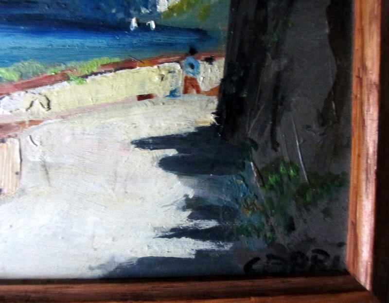Coastal Scene of Capri (2), detail, title lower rh corner.