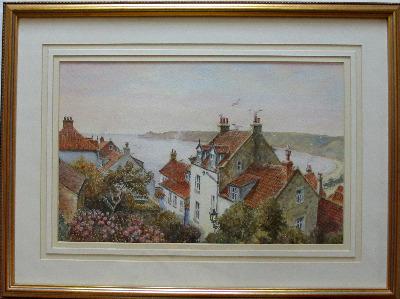 Runswick Bay, North Yorkshire, watercolour on paper, Sam Burden. c1985.