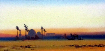 Arabian Scene at Dusk, gouache on paper, signed Fred. Alders. c1930.  SOLD 01.03.2016.