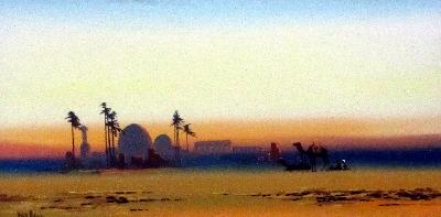 Arabian Scene at Dusk, gouache on paper, signed Fred. Alders. c1930.
