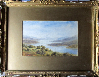 Coniston Water, watercolour on paper, signed Tom Dudley. c1890.  SOLD 22.01.2014.