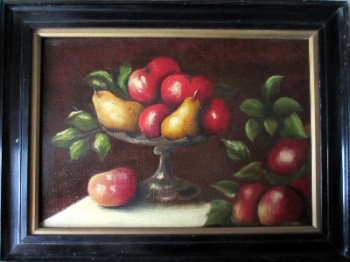 Still-Life study of Fruit, oil on canvas, signed E. Ladell and verso Ellen Ladell. Framed. c1880.  SOLD  13.01.2014.