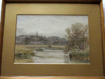 Bakewell, from the River Wye, watercolour on paper, signed W.H. Pigott, 1882.