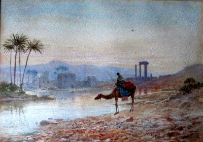 North African Oasis, The Watering Place, watercolour on paper, signed J.W.