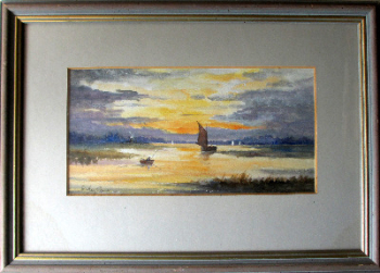 "River Thurne, Norfolk. Evening Time From My Boat ""Rivers of Joy"", watercolour on paper, signed Shirley Carnt. c1980.  SOLD  15.04.2020."