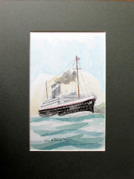 Passenger Ship off the Coast, watercolour on Blick card, signed Paul W. Rotton 2003. Unframed.