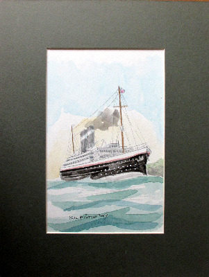 Passenger Ship off the Coast, watercolour on Blick card, signed Paul W. Rot