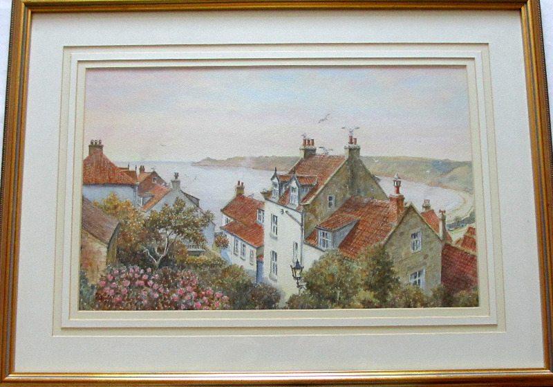 Runswick Bay, watercolour on paper, Sam Burden. c1985.