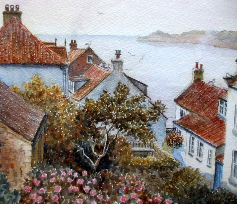 Runswick Bay, watercolour on paper, Sam Burden. c1985. Detail.