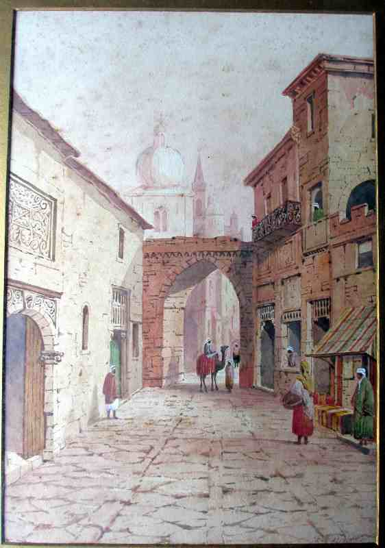 Arabian Street Scene with Figures and Camel, watercolour on paper, signed A. Lewis 1901.