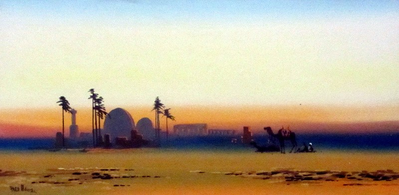 Arabian Scene at Dusk, gouache on paper, signed Fred. Alders, c1930.