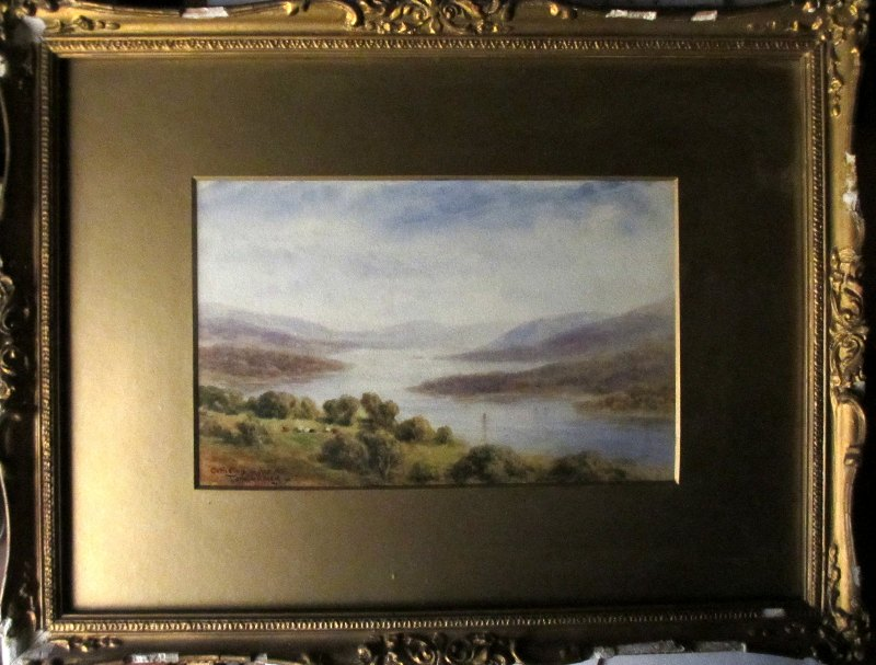 Coniston Water, watercolour on paper, signed Tom Dudley, c1890.