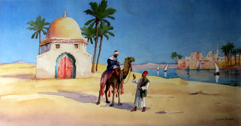 Opposite Damietta, watercolour on paper, signed Giovanni Barbaro, c1900. Framed and glazed.